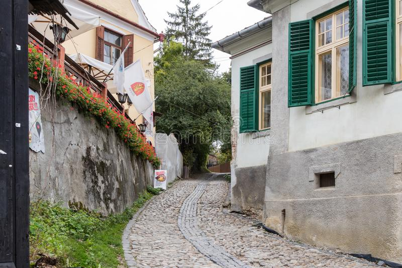 Ladder Street in the castle of old city. Sighisoara city in Romania stock images