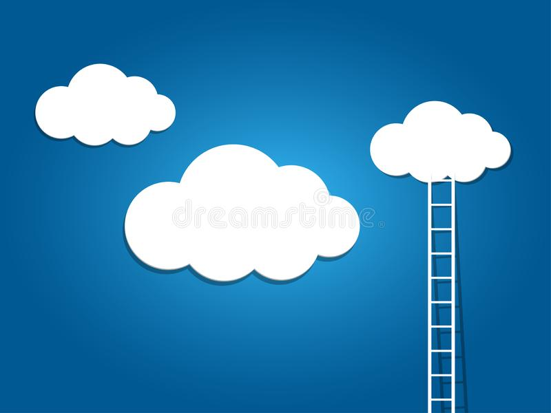 Ladder to the clouds on blue background. Ladder to the white clouds on blue background royalty free illustration