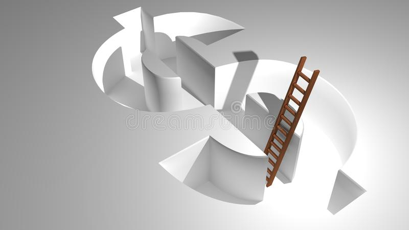 Download A Ladder To Come Out From Dollar Stock Illustration - Illustration: 31229071