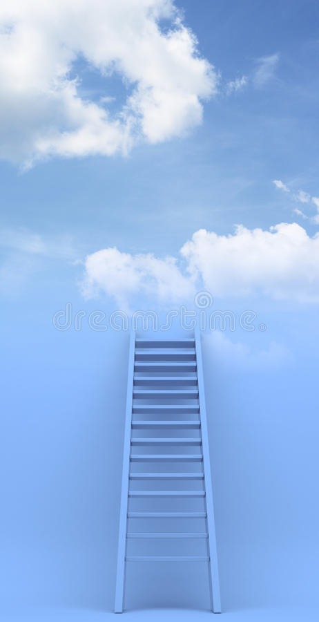 Ladder to sky. Success. 3d illustration. Ladder to sky. Success. illustration on blue background vector illustration