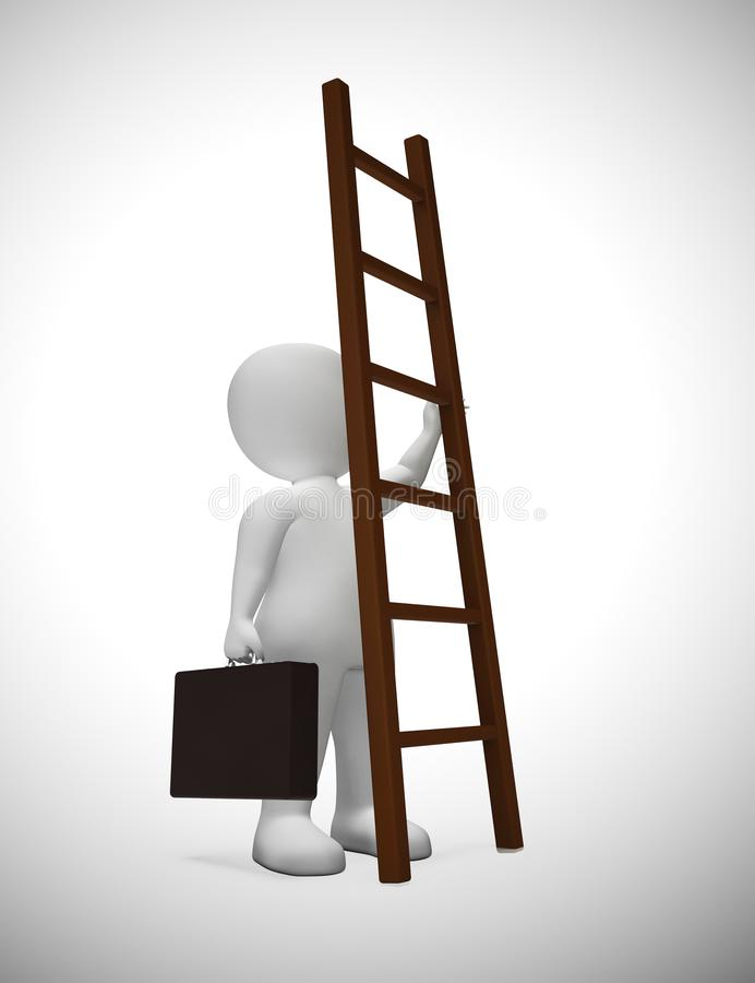 Ladder to success concept icon means ambitious leader desiring goals - 3d illustration. Ladder to success concept icon means ambitious leader desiring goals vector illustration