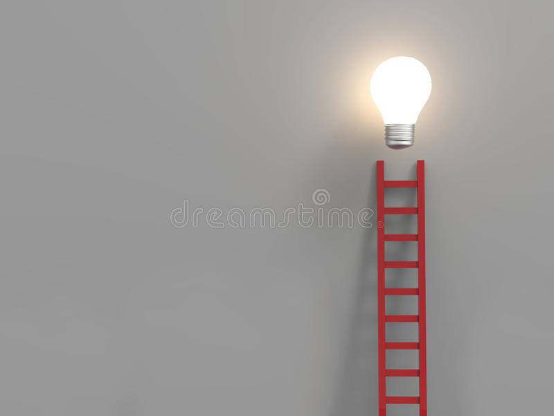 Ladder to success concept. With red ladder and idea light bulb royalty free illustration