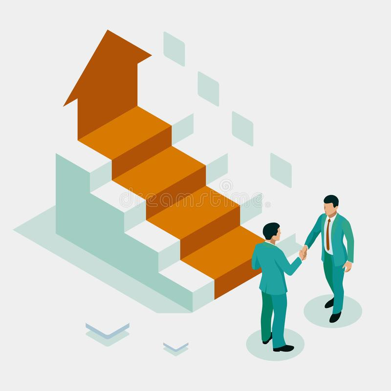 Ladder to success. Isometric Successful business collaboration. Businessmen shaking hands. B2B. Data and key performance stock illustration