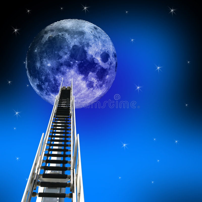 Free Ladder Up To The Moon Stock Images - 1911074
