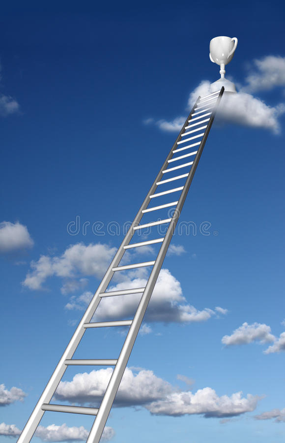 Ladders aan een trofee op een wolk royalty-vrije illustratie