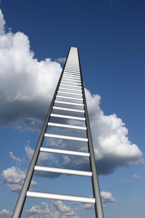 Ladders aan skyhigh succes royalty-vrije illustratie