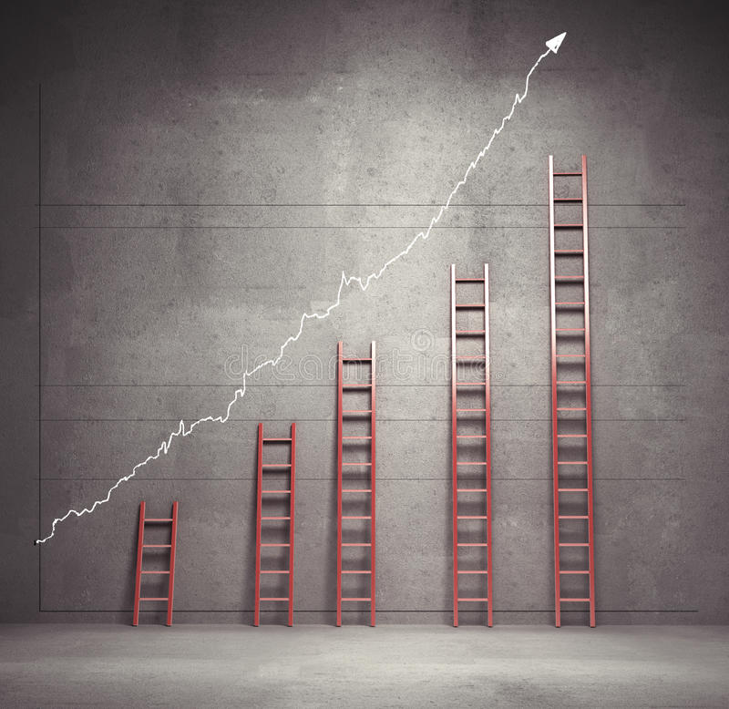 Ladders chart. Red ladders chart, business concept stock illustration