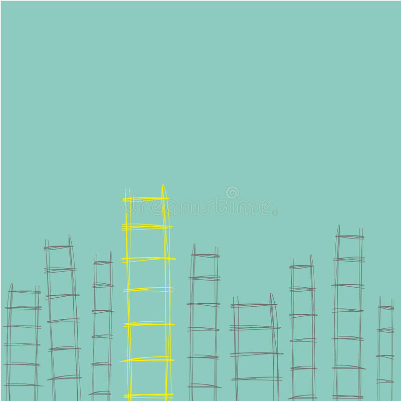 Ladders hand drawn different for concept of opportunity to succe. Ladders hand drawn different for concept opportunity to success in business vector stock illustration