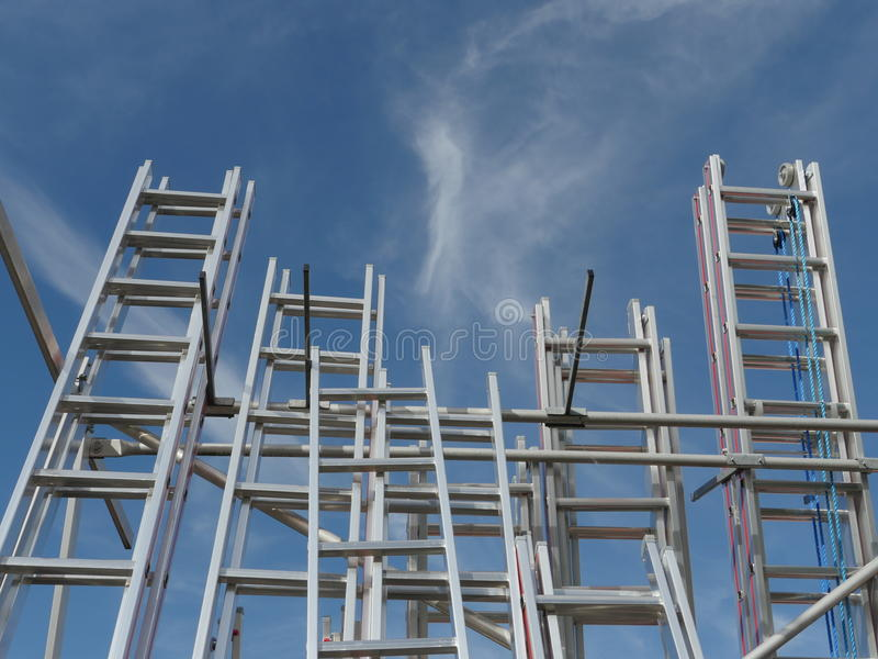 Ladders into sky stock image