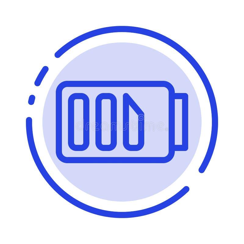 Laddning batteri, elektricitet, enkel blå prickig linje linje symbol vektor illustrationer
