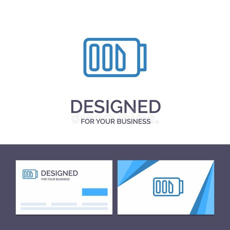 Laddning för idérik mall för affärskort och logo, batteri, elektricitet, enkel vektorillustration vektor illustrationer