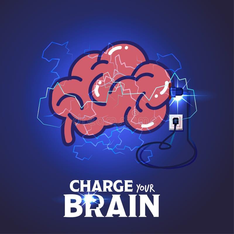 Laddning för mänsklig hjärna för makt laddat med nya idéer och ändå vektor illustrationer