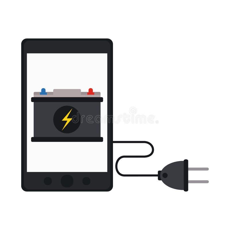 Laddning och tråd för Smartphone bilbatteri vektor illustrationer