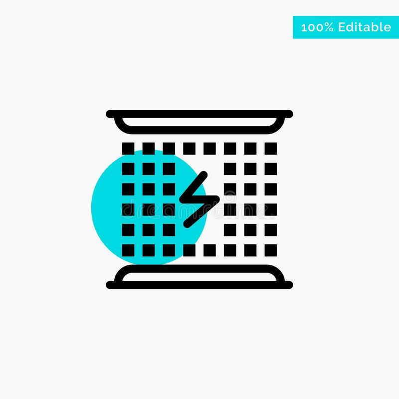 Laddning som laddar, elektricitet som är elektromagnetisk, symbol för vektor för punkt för cirkel för energiturkosviktig royaltyfri illustrationer