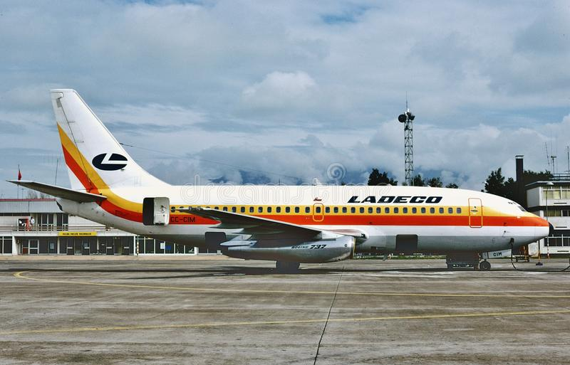 Ladeco Boeing B-737 após um voo de Cidade do México em 1983 imagens de stock