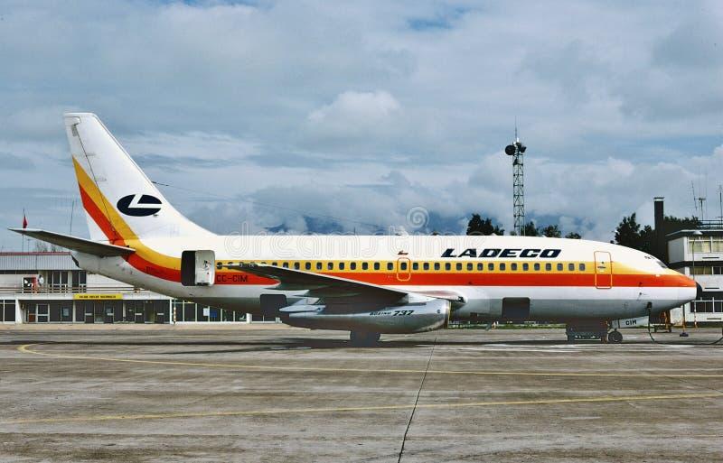 Ladeco Boeing B-737 après un vol de Mexico en 1983 images stock