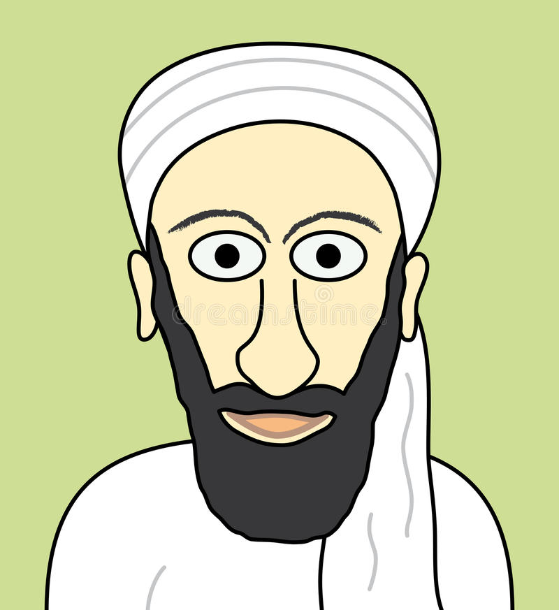 laden osama för fack tecknad film royaltyfri illustrationer