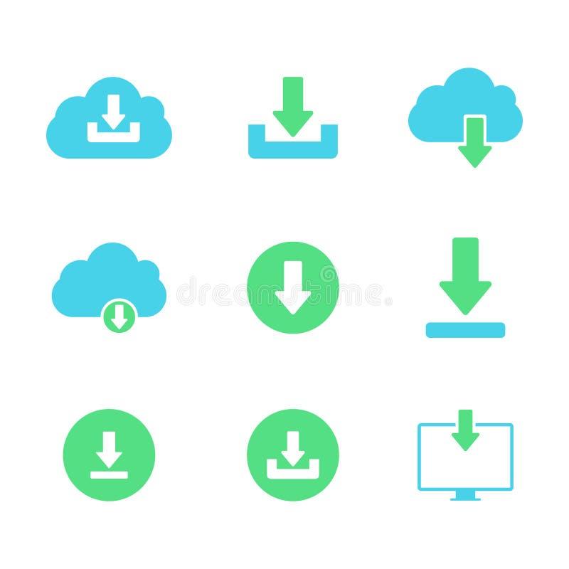 Laden Sie herunter oder speichern Sie die Zeichenikone, die mit Wolke eingestellt wird lizenzfreie abbildung