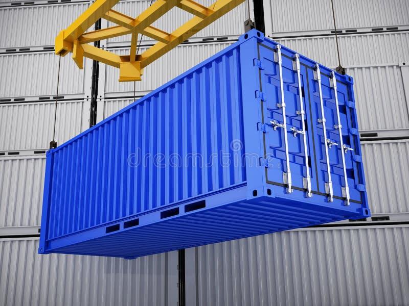 Ladende blauwe container stock illustratie