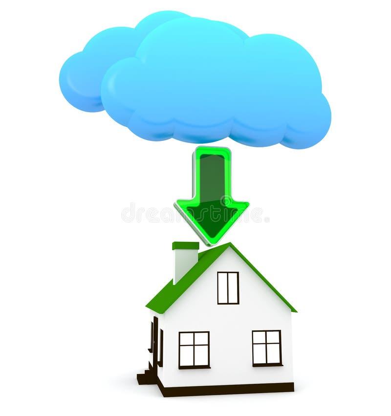 Ladende Daten von einer digitalen Wolke - Begriffsbild vektor abbildung