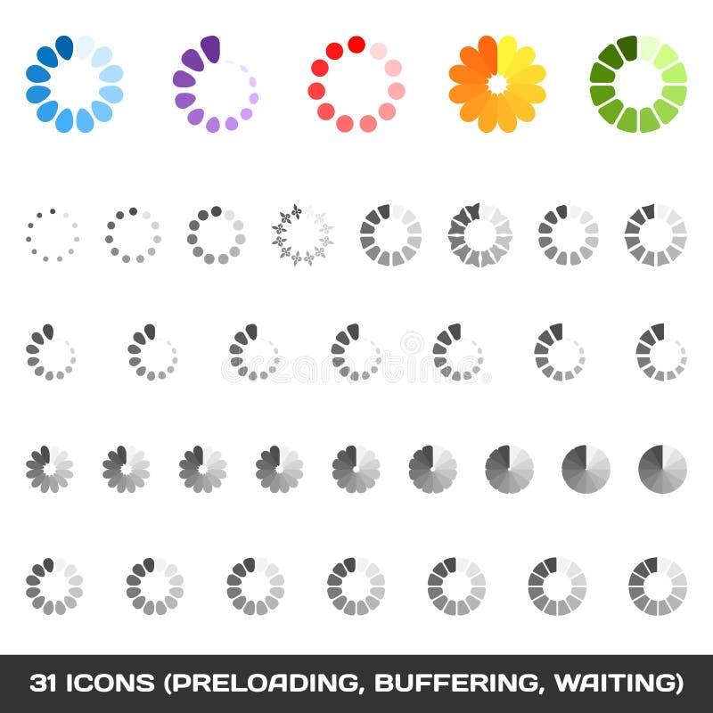 Ladende en Als buffer optredende voor Pictogramreeks. Preloaders. Vector stock illustratie