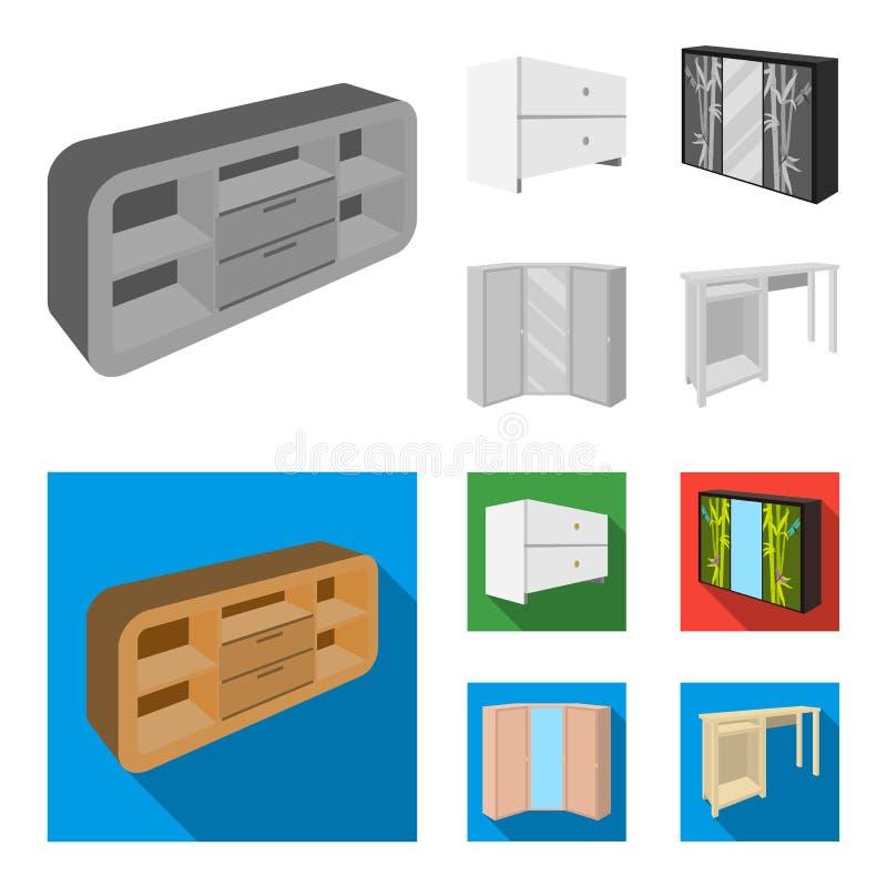 Ladenkast, garderobe met binnen spiegel, hoekkabinet, de witte pictogrammen van de het meubilair vastgestelde inzameling van de b royalty-vrije illustratie