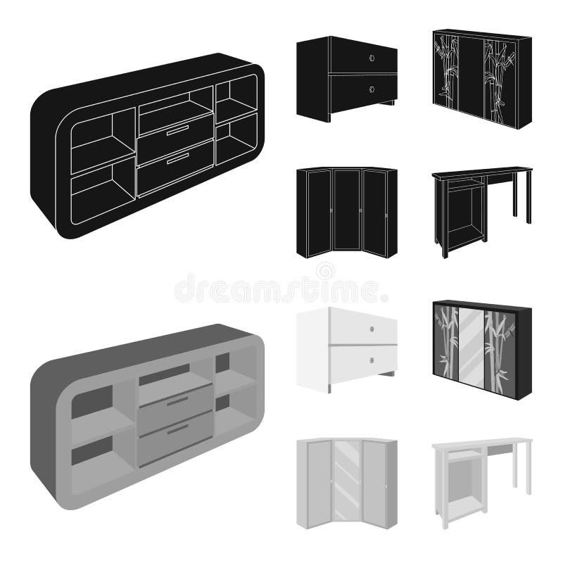 Ladenkast, garderobe met spiegel, hoekkabinet, de witte pictogrammen van de het meubilair vastgestelde inzameling van de borstsla royalty-vrije illustratie