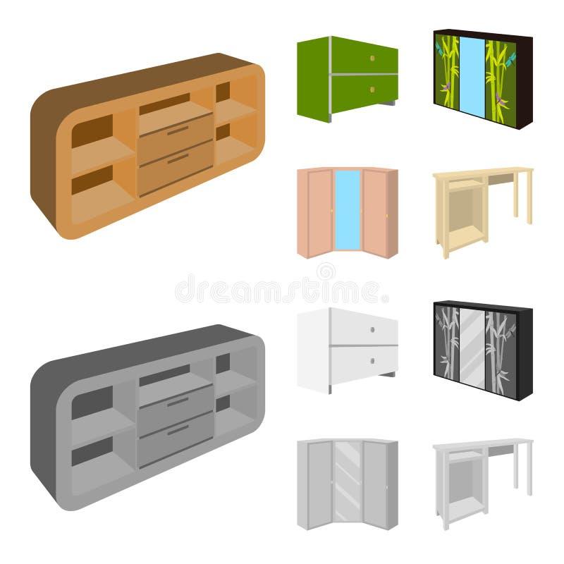 Ladenkast, garderobe met spiegel, hoekkabinet, de witte pictogrammen van de het meubilair vastgestelde inzameling van de borstsla stock illustratie