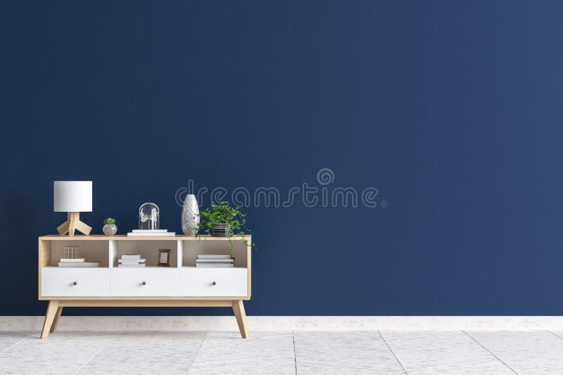 Ladenkast in spot van de woonkamer de binnenlandse, donkerblauwe muur op achtergrond stock illustratie