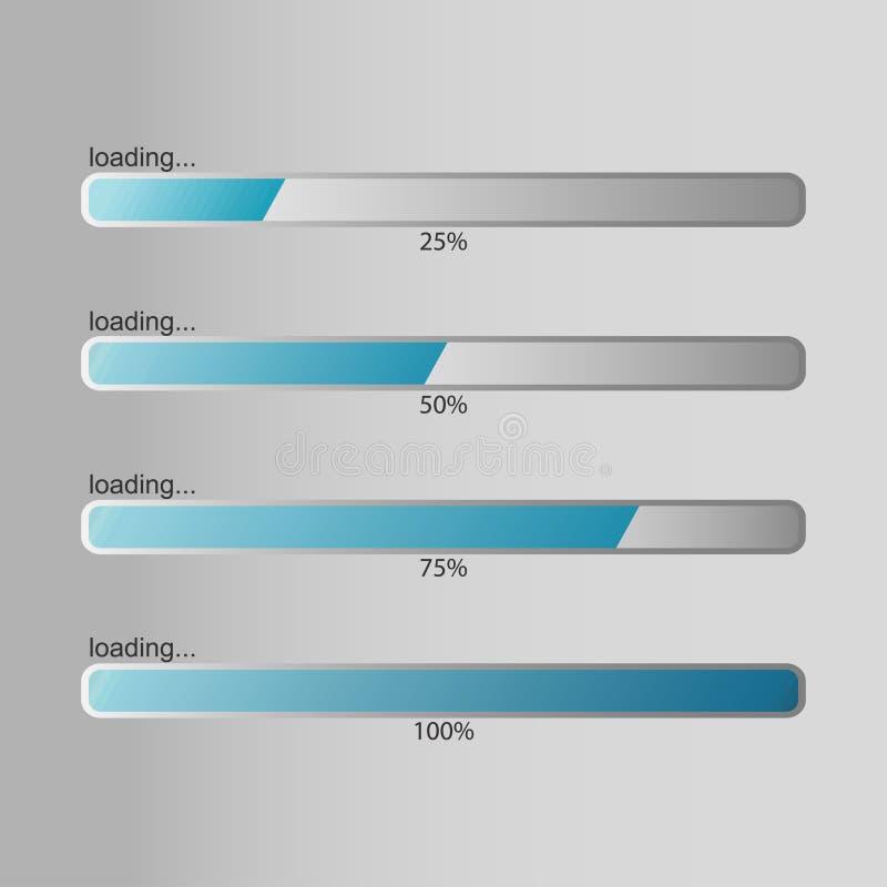 Ladenstange Designschablone für Prozentsatzladen, Downloading oder ladenden Fortschritt Vektor lizenzfreie abbildung