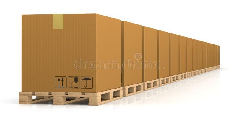 Ladeplatten- und Kartonkasten vektor abbildung