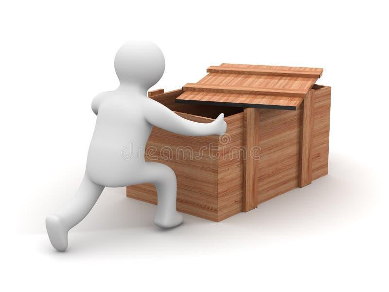 Lader een duwende lege doos. vector illustratie