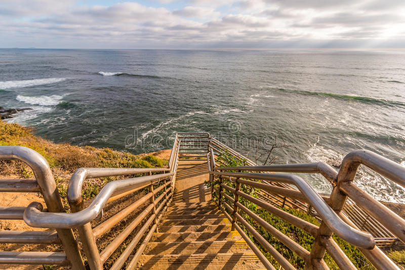 Ladera Street Ladder Overlooking Ocean at Sunset Cliffs stock photography