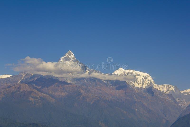 Laderas con los bosques verdes en el fondo de las montañas del desierto y el canto nevoso de Annapurna con las nubes debajo de un fotos de archivo libres de regalías