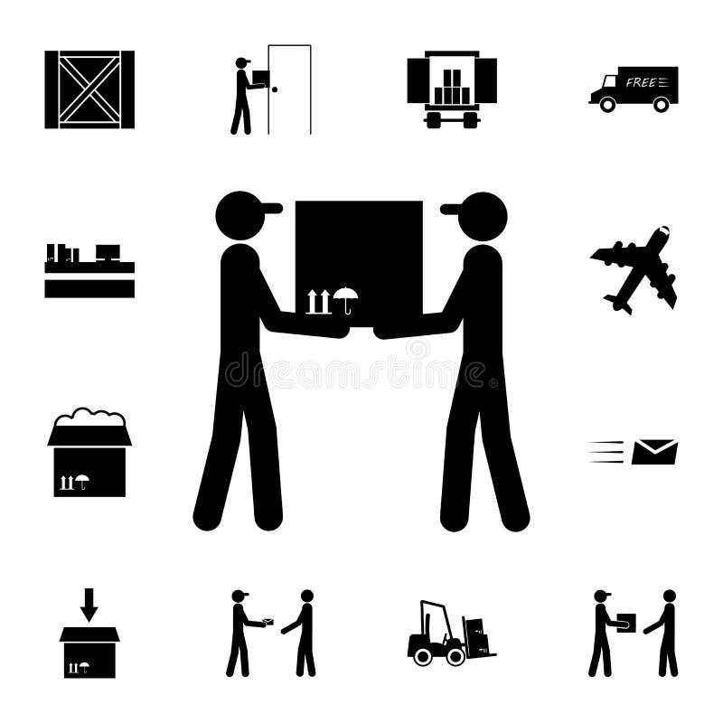 laders met een pictogram van de verpakkingsdoos Gedetailleerde reeks logistische pictogrammen Grafisch het ontwerppictogram van d stock illustratie