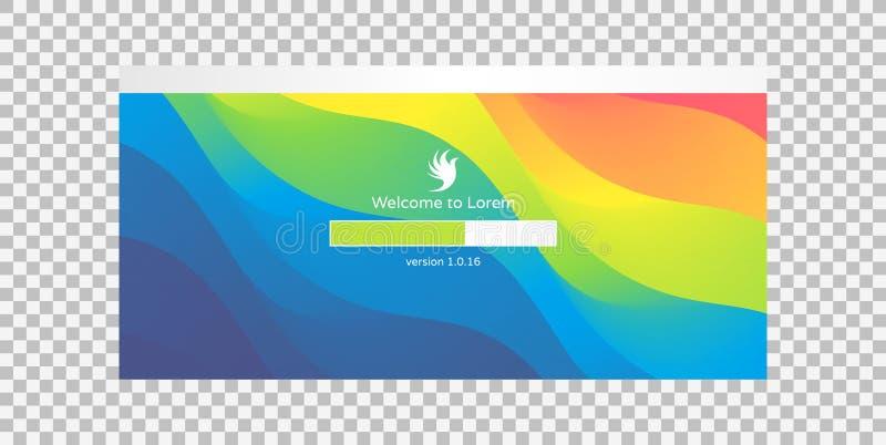 Ladevorgangschirm Installierung von APP oder von Software Fortschrittsladenstange Abstrakter Hintergrund mit Farbsteigungen Vekto vektor abbildung