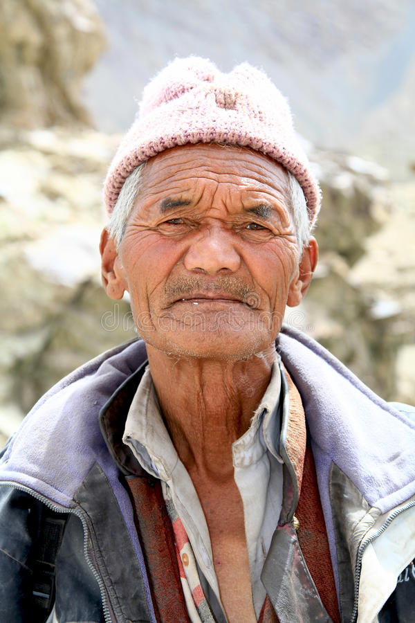 Ladhaki old man stock images