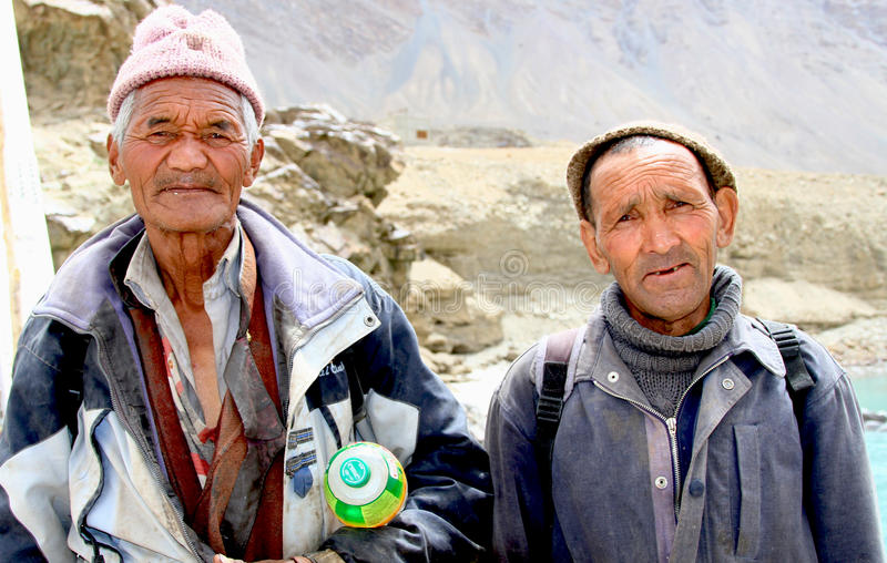 Ladhaki old men stock photo