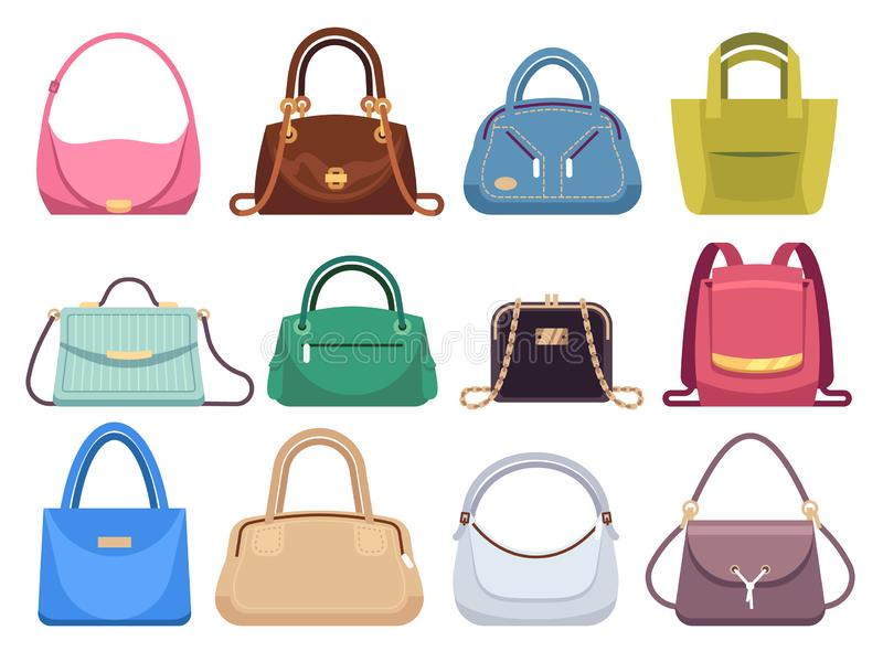 Ladies bags. Womens handbags with fashion accessories. Leather female clutch and purse vintage vector flat set vector illustration