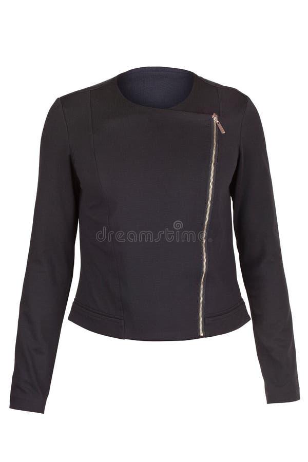 Ladies` blazer with zipper. Black Ladies` blazer with zipper, isolated on white background royalty free stock photos