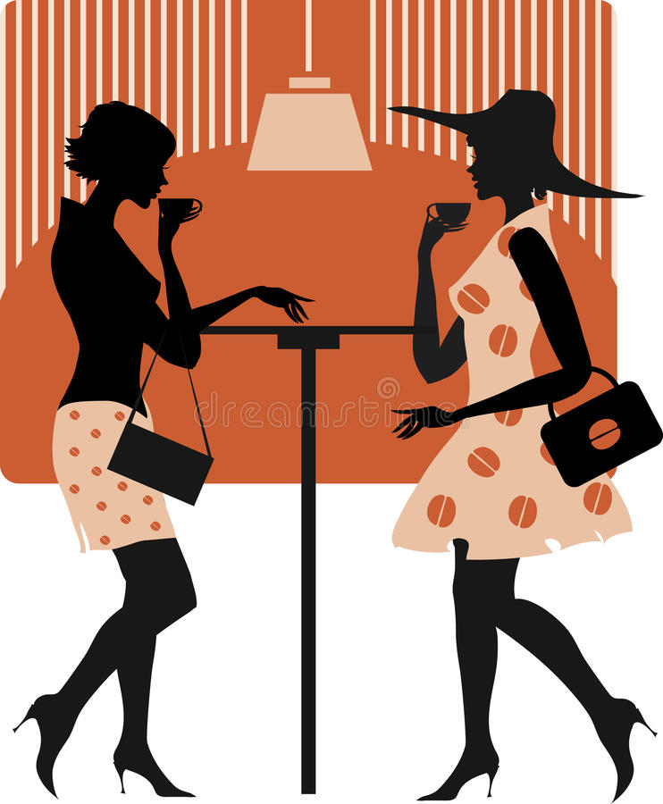 Download Ladies at cafe stock vector. Illustration of retro, appointment - 14736554