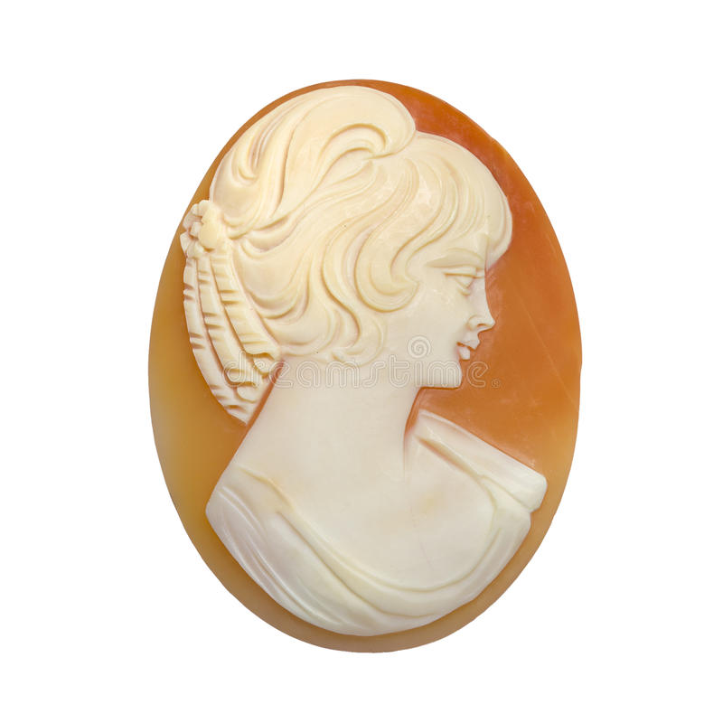 Ladies' Cameo Brooch. Detail of a ladies cameo brooch royalty free stock photos