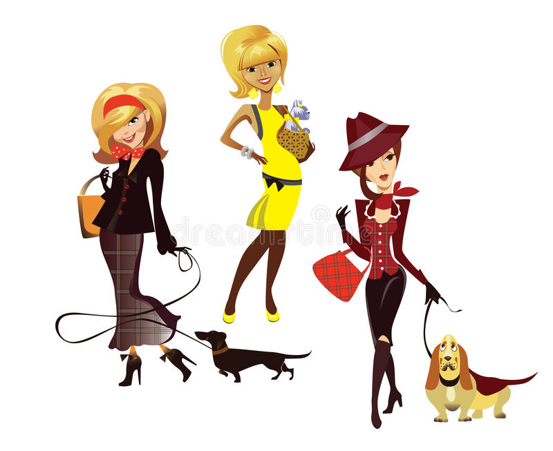 Ladies with dogs royalty free illustration