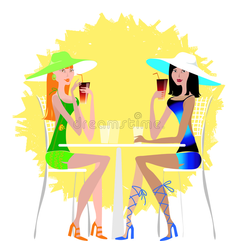 Ladies drinking cocktail. Two young pretty ladies drinking cold drink on the beach