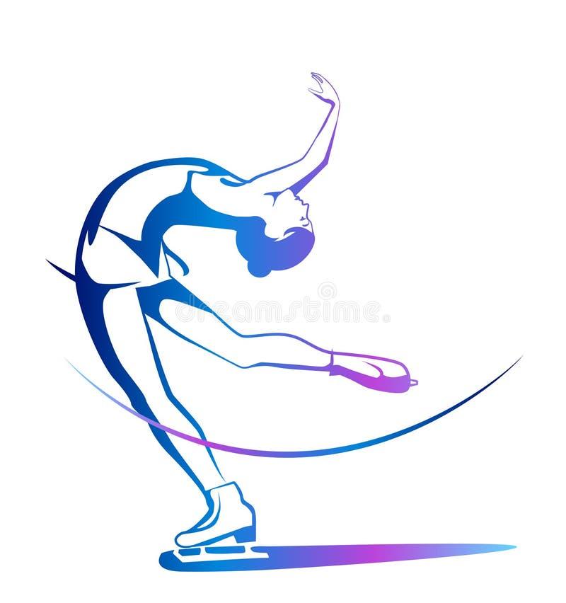 Ladies figure skating. stock illustration
