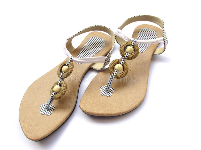 Ladies Footwear. A pair of trendy ladies footwear isolated on white stock photo