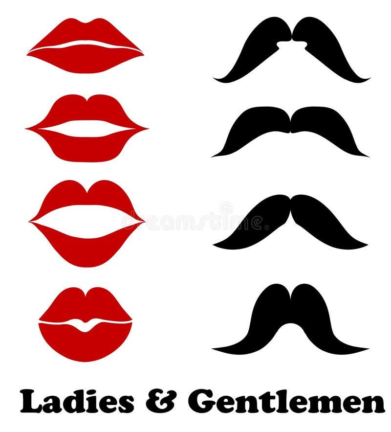 Ladies and gentlemen bathroom symbols. Stock vector lips and moustache fashion, vintage icons illustration vector illustration
