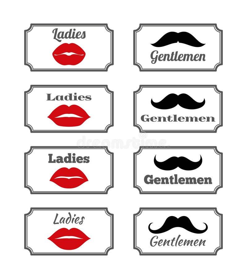 Ladies And Gentlemen Bathroom Symbols. Vector Lips Mustache Stock ...