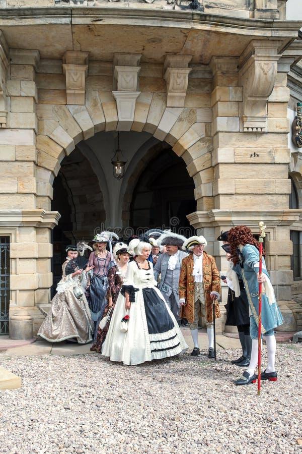Ladies, gentlemen of the 18th century. Baroque Festival, Schloss Friedenstein, Gotha, Germany, August 29, 2015 royalty free stock photos