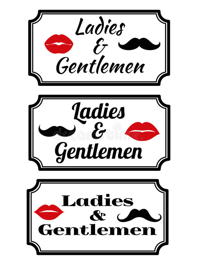 Ladies And Gentlemens With Lips And Mustaches Stock Vector